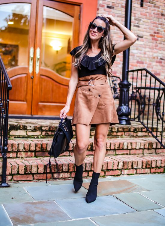faux suede skirt with belt