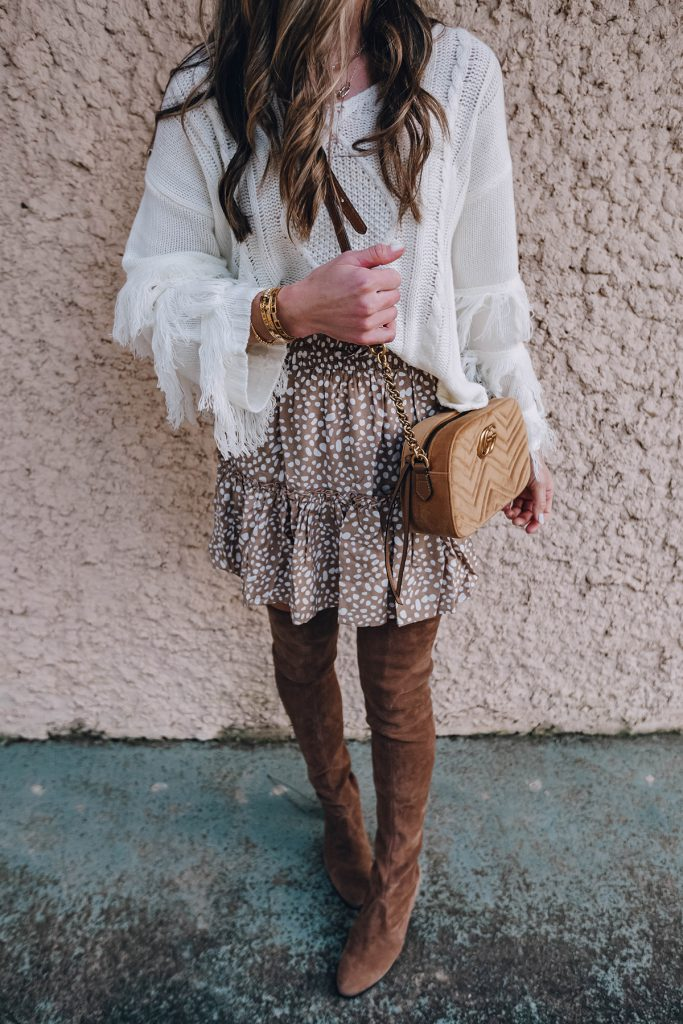 the cutest fringe sleeve sweater