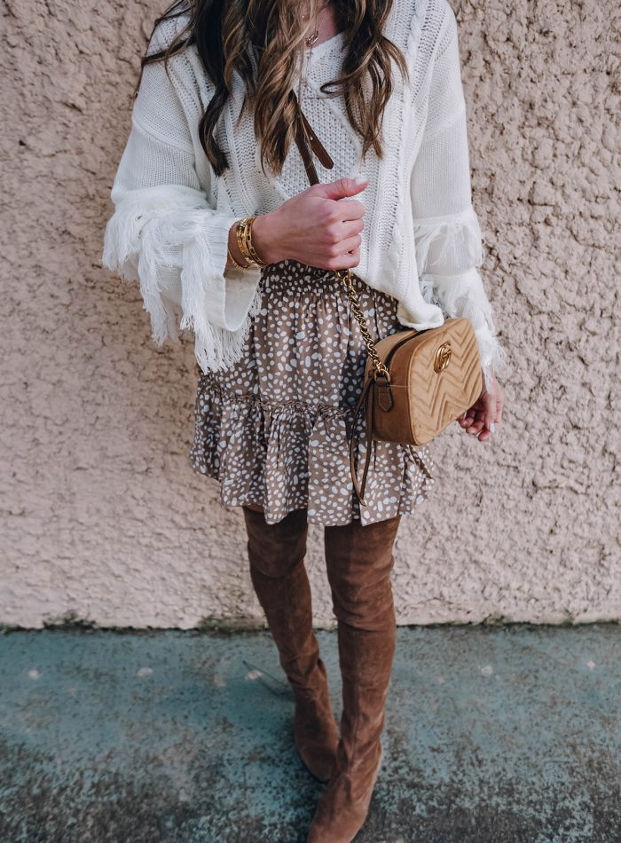 the cutest fringe sleeve sweater