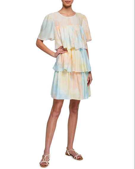 English factory tie dye ruffle dress