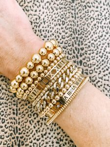 gold beaded bracelets and gold bangles