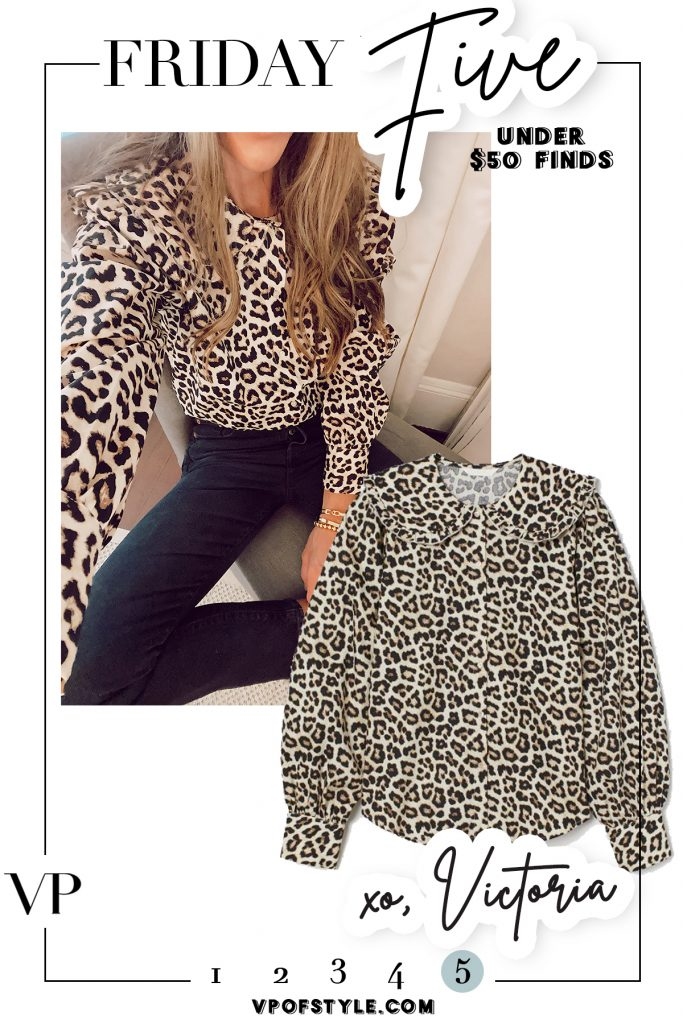 $19 large collar leopard blouse